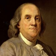 Oil painting portrait of Benjamin Franklin